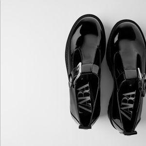 Zara TRF black low heeled platform shoes